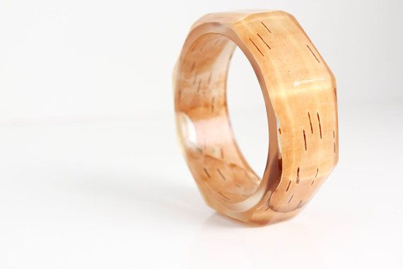 birchbark bracelet eco resin statement bangle от RosellaResin