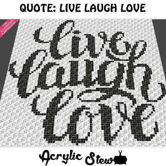 Graphgan Pattern - Corner to Corner - C2C Crochet - Basket Weave - Live Laugh Love Quote Blanket Afghan Crochet Pattern Graph Chart