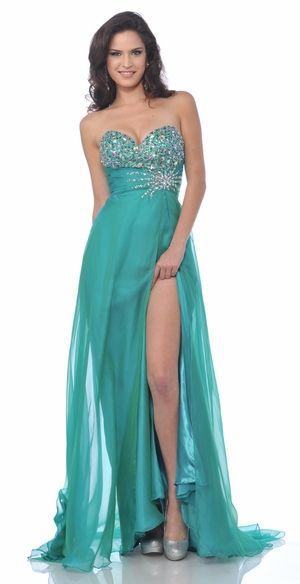 Jade Jewel Dress Strapless Front Slit Chiffon Formal Long Jade Dress $267.99