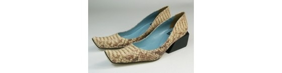 "Louloux ""Desert"" Snakeskin Leather Heel in Beige ~ NEW! from Brazil! sz 7 / 7.5"