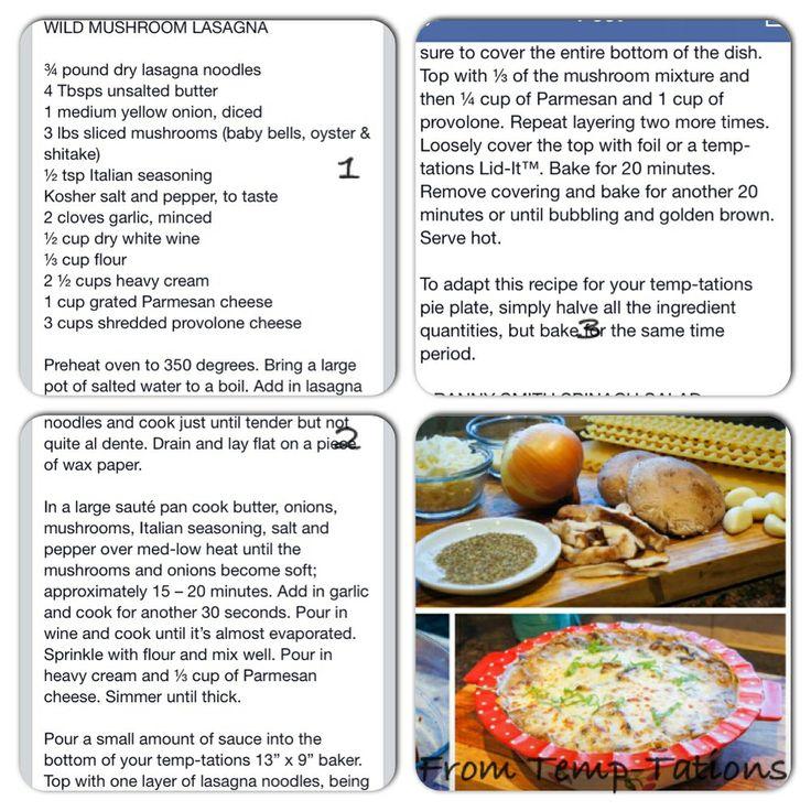 Wild Mushroom Lasagna by Tara McConnell of temp tations!