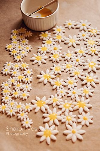 Cake decorating iced daisies.  Learn How to Decorate Cakes - Visit Online Cake Decorating Classes on http://CakeDecoratingCoursesOnline.com