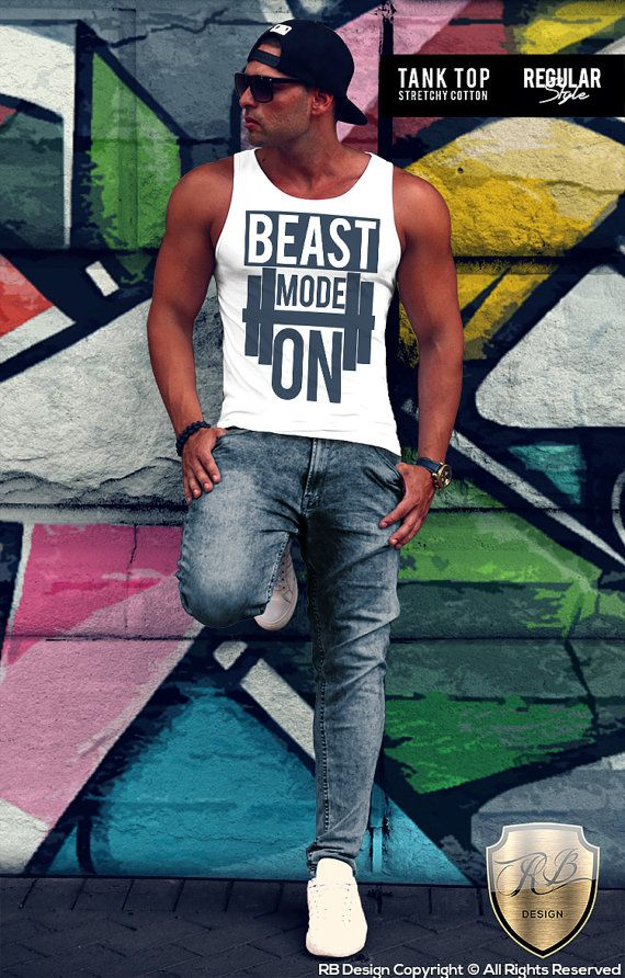 BEAST Mode On Men's T-shirt Motivation Gym Training Workout Muscle Tank Top Stretchy Cotton RB Design MD642