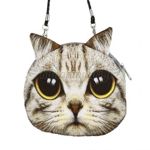 Kissa laukku, vaaleanharmaa