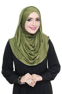 Alia Hoodie Hijab One Piece Long Khimar Amira Slip On Muslim Scarf Abaya Islam