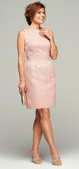 Pink cocktail length dress for the mother-of-the-bride or mother-of-the-groom