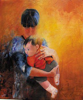 La mère portrait enfant et sa mère Artiste Bivan France