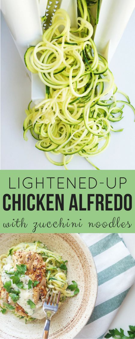 Lightened Up Chicken Alfredo with Zucchini Noodles. A healthier, delicious Alfredo sauce gets paired with Italian spiced chicken and nutritious zucchini noodles for a lighter take on a typically heavy dish! Comfort food, redefined.