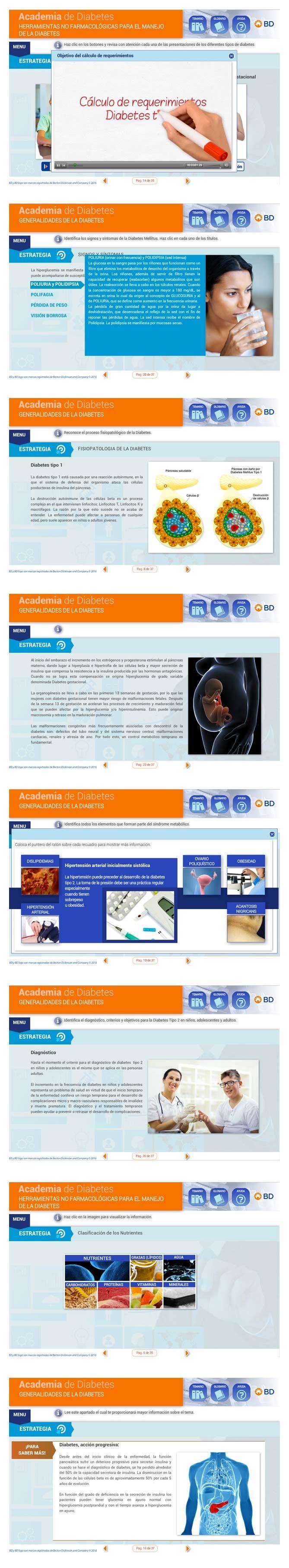 """Cliente: Beckton Dickinson  Diseño y desarrollo de curso en línea """"Academia de Diabetes""""."""