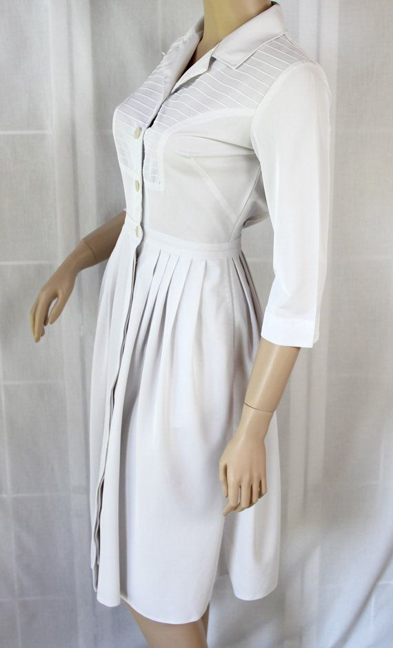 60s Nurse Dress / Uniform / White / Costume / by PetticoatsPlus, $25.00