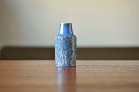 3302 Soholm Denmark Stentoj - Small Blue Vase by Svend Aage Jensen - Danish Pottery