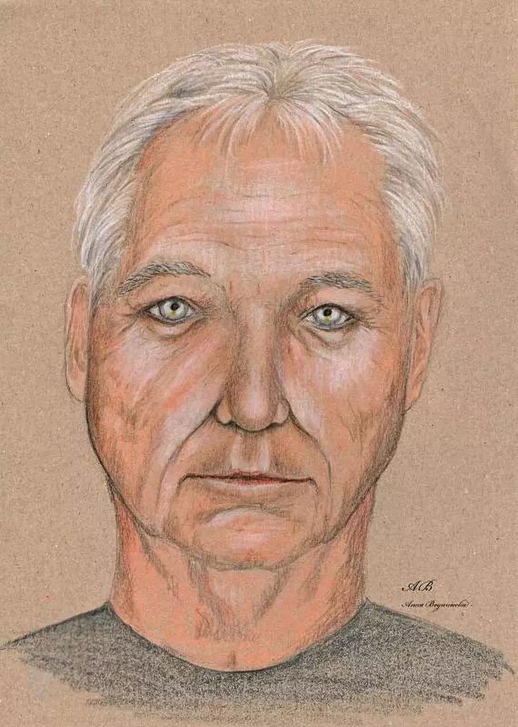 portret, kredki, szary papier, mężczyzna, twarz