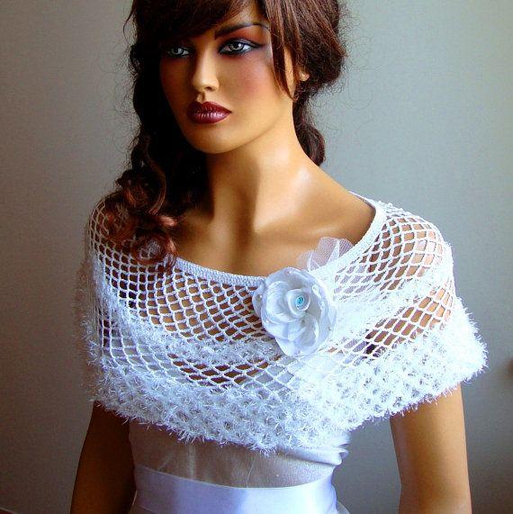 Valentine's Day Gift Bridal bolero shrug White Lace by Pasin, $52.00