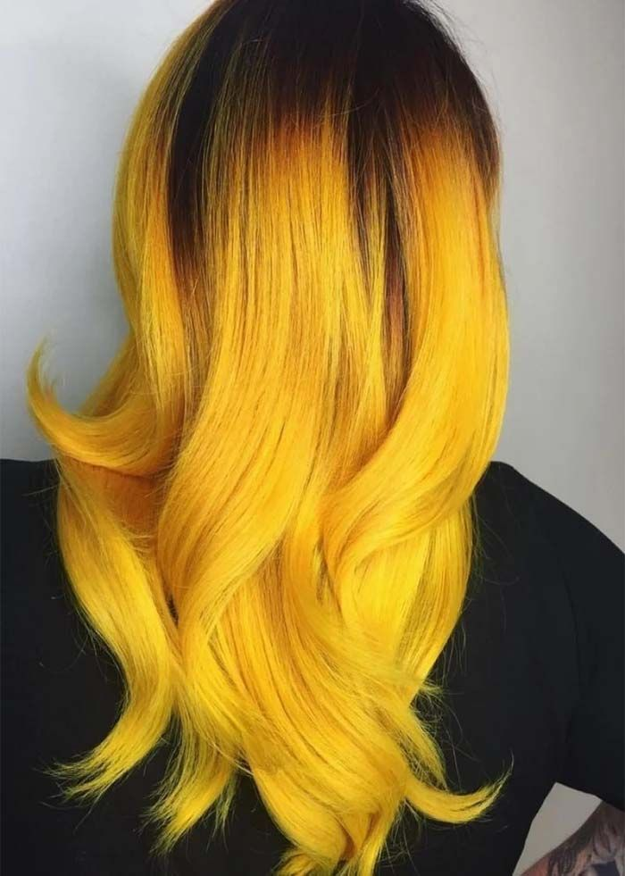 Colour Ombre For Dark Hair Trends For Wedding Yellow Hair Color Yellow Hair Dye Hair Color Highlights