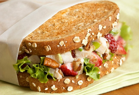 easy-to-make turkey salad sandwiches, made special with strawberries, green onion and balsamic vinegar,: Recipe, Food, Salad Sandwiches, Easy To Make Turkey, Turkey Salad, Balsamic Berry, Berries