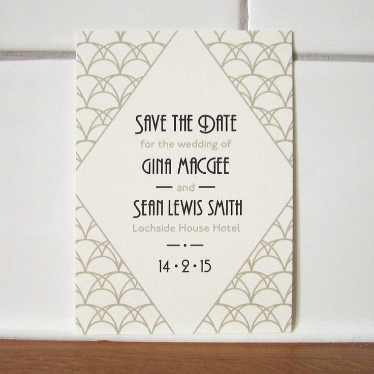 Art Deco Style Wedding Save the Date card from Lovat Press
