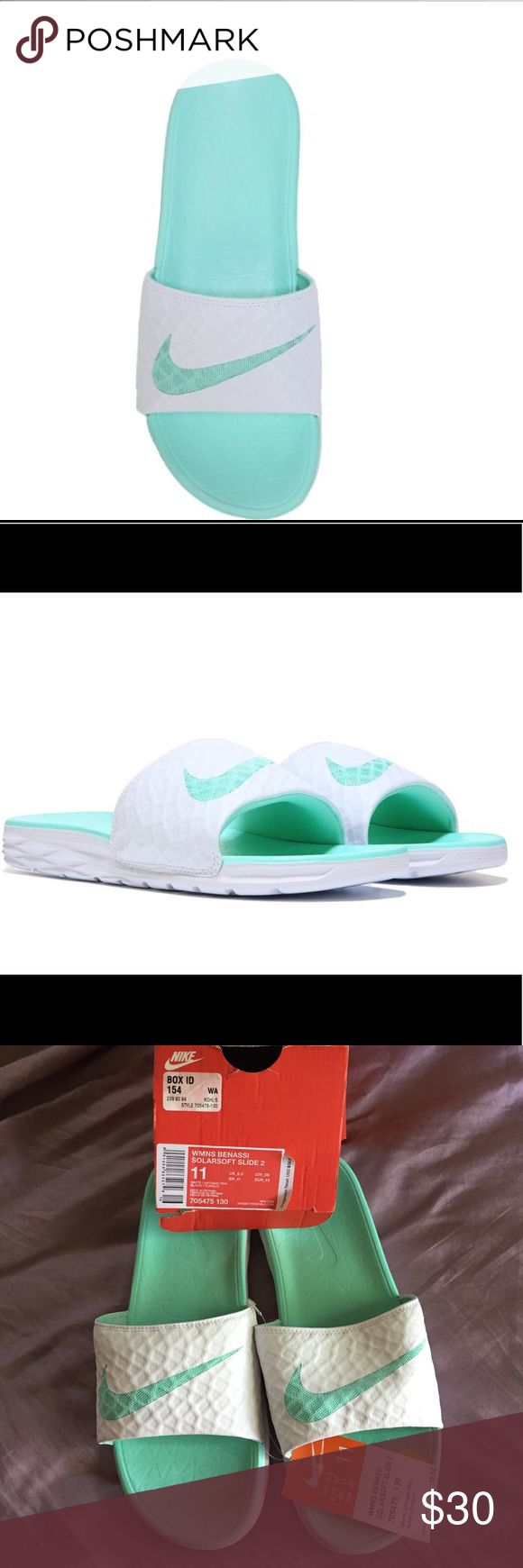 Benassi Solarsoft Sandals from Nike NWT Benassi Solarsoft from Nike. Textile upper in a slide sandal style with an open toe, Slip-on construction, Smooth lining with a cushioning footbed, Traction outsole Nike Shoes Sandals