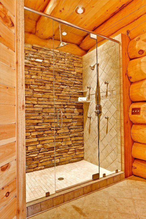 Best 25 log cabin bathrooms ideas on pinterest stone for Cabin shower tile ideas