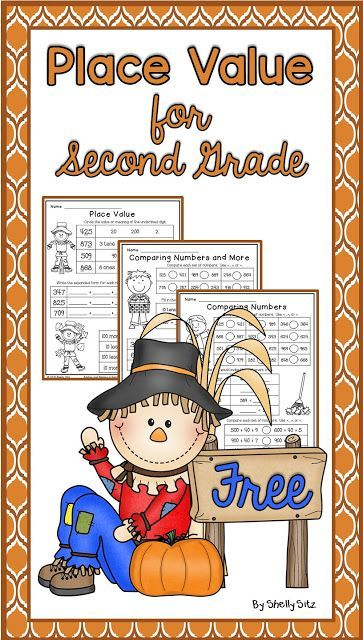FREEBIE.  Place Value printables.  This page has some really cute activities for practicing place value with a scarecrow theme.  Cute games and craft activities.  In addition, there is a link to download several practice worksheets.  Read more and get your FREE download at:  http://smilingandshininginsecondgrade.blogspot.com/2015/10/place-value-for-second-grade.html