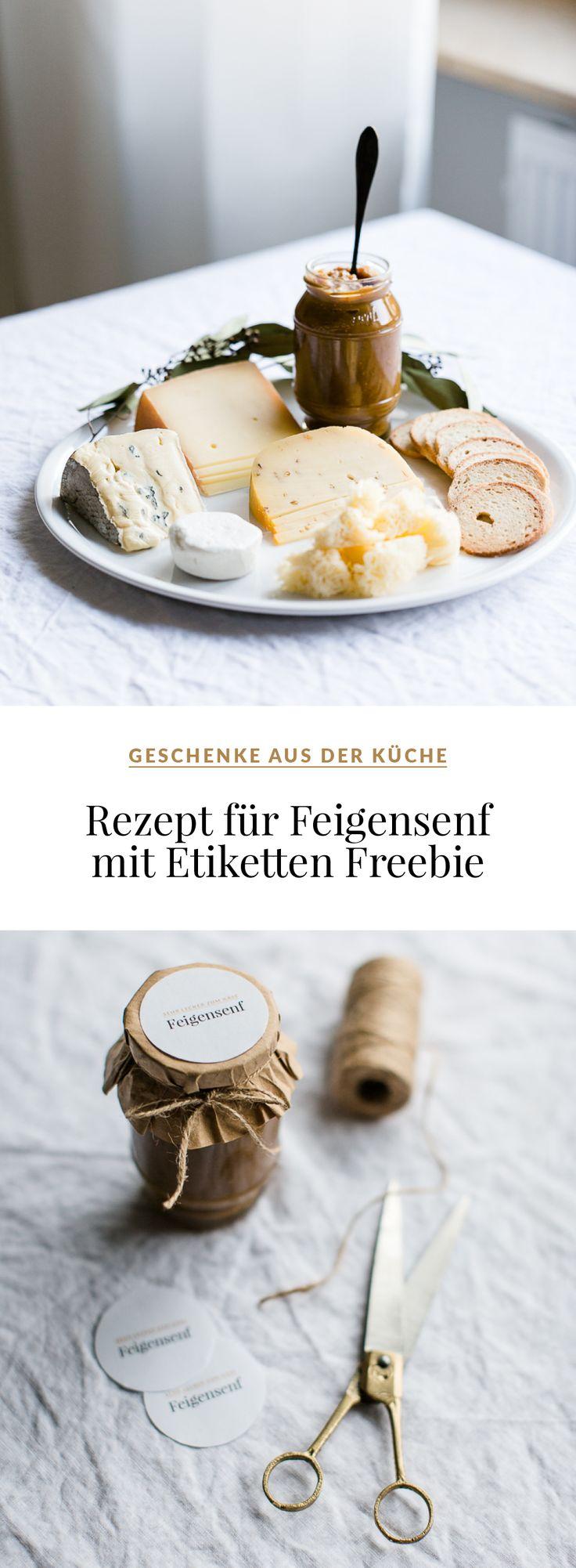 Feigensenf Rezept + Etiketten Freebie // Geschenk aus der Küche #geschenkeausderküche #feigensenf #senf #feigen #weihnachten #käseplatte #vesperplatte #käse