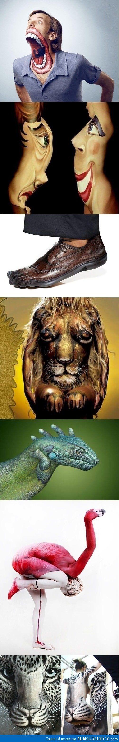 Awesome human art illusions