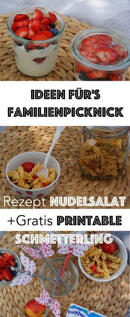 Einfache Ideen Ideen für euerFamilienpicknick. Inklusive Rezept für leckeren Italienischen Nudelsalat und einer Druckvorlage für Strohhalm Schmetterlinge als Freebie.