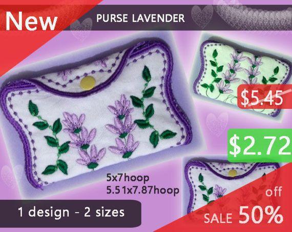 Purse Lavender No.264  wallet design  by EmbroideryRady on Etsy