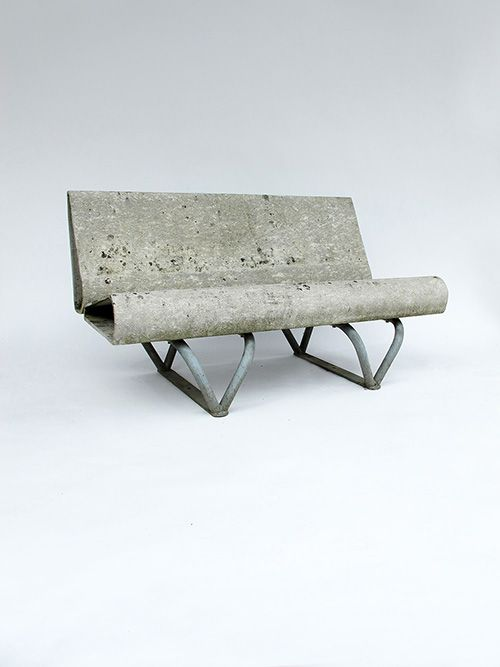 André Lasserre; Concrete and Enameled Tubular Steel Bench for Eternit, 1950s.