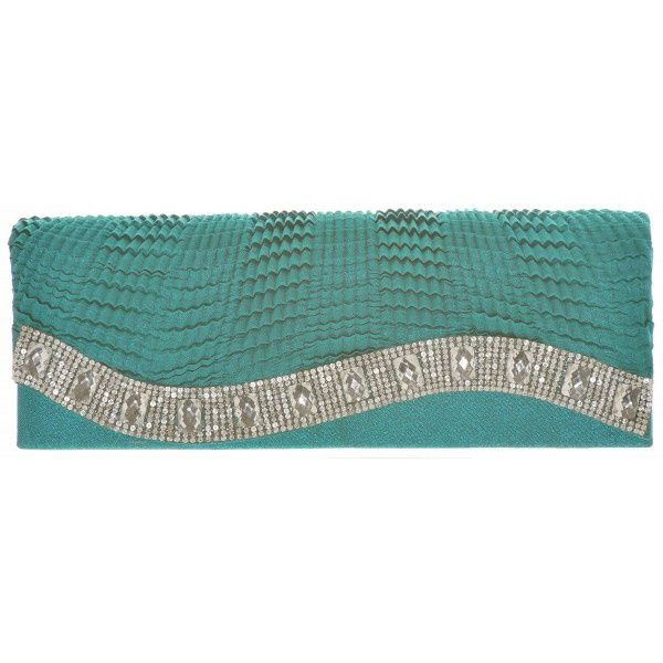 Gedecoreerde Clutch Donker Turquoise