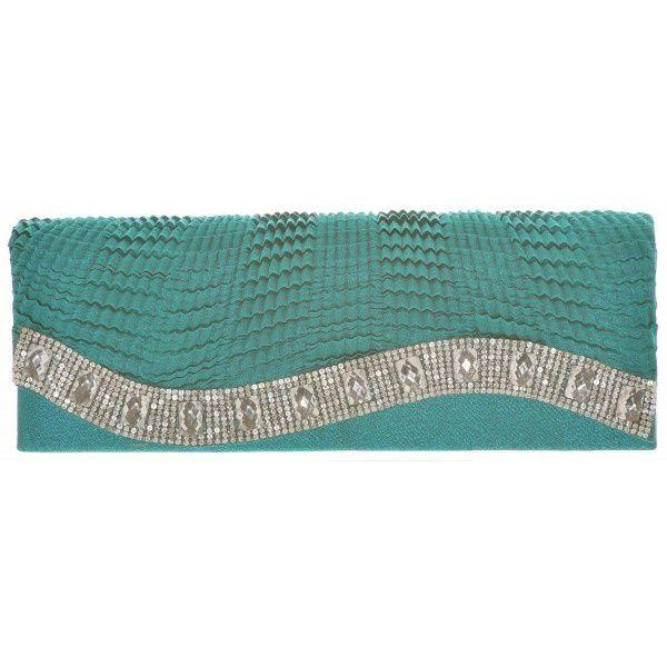 Gedecoreerde Clutch Donker Turquoise