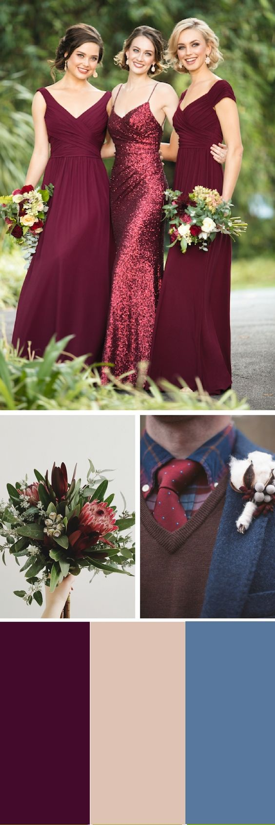 Chic Burgundy Bridesmaids Dresses for a Mixed Berry Mix-and-Match Bridal Party You'll Love