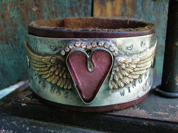 Angel wings cuff bracelet - Love Has Wings - pink heart jewelry rocker cowgirl boho jewelry leather bracelet rhinestones bohemian jewelry