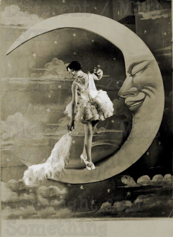 Dusting The Moon, Lovely lady,Paper Moon Vintage Image, digital download. $2.50…