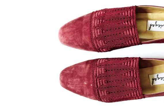 Spiegel Red Red Wine Suede Chevron Elastic Band Shoes 7 by omNoms, $18.00