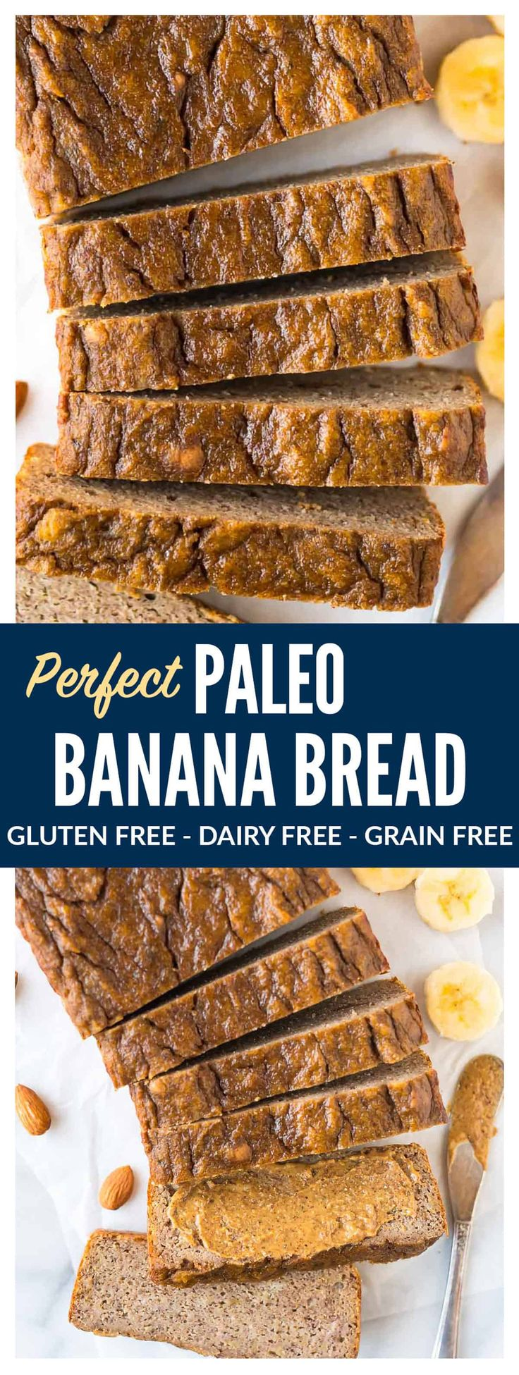 PERFECT Paleo Banana Bread with coconut flour, almond butter, and maple syrup or honey. This moist, tender banana bread tastes like the real-deal but is flourless and made with NO butter, NO oil and NO sugar! The best healthy banana bread recipe you will ever bake! #paleo #bananabread #easy #healthy via @wellplated
