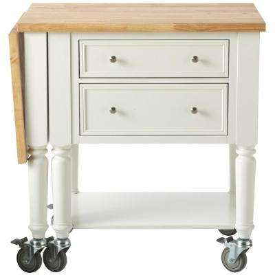Blaine Picket Fence White Kitchen Cart With Drop leaf