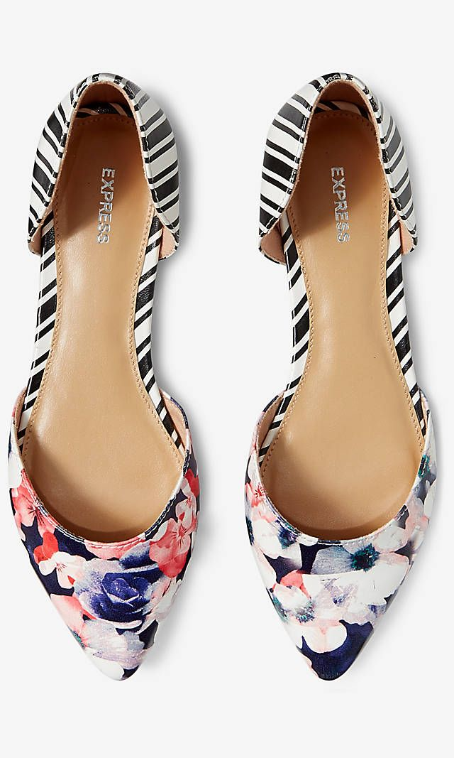 Floral And Striped D'orsay Flat from EXPRESS