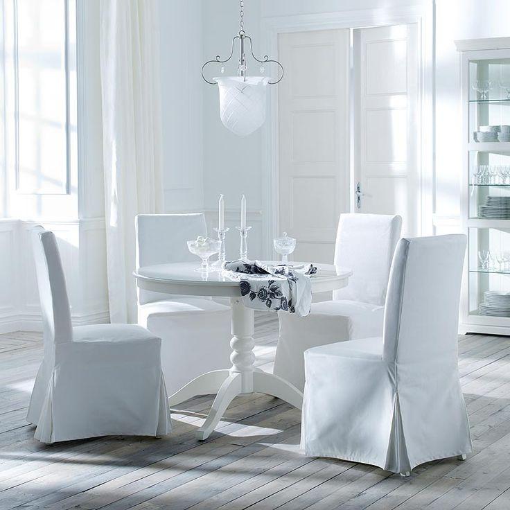 Tavolo allungabile LIATORP bianco per 4-6 persone e sedie HENRIKSDAL con fodera in cotone Blekinge bianco