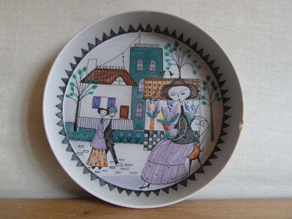 Vintage Finland - bowl / wallhanging - Kupittaa by Laila Zink - Kupitaan Savi Oy - midcentury