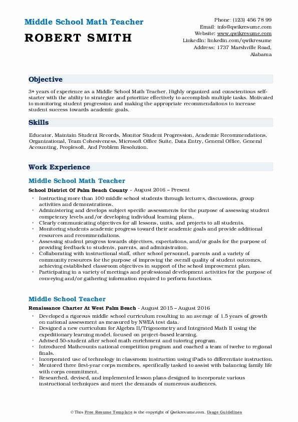 23 Math Teacher Resume Examples In 2020 Teacher Resume Examples