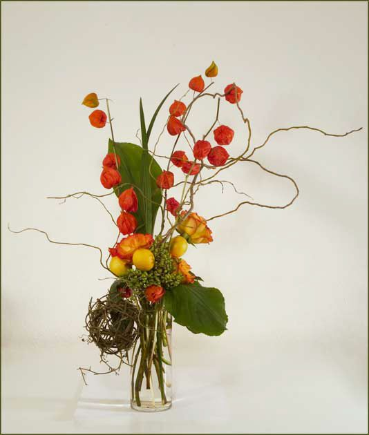 Chinese Floral Arrangements Chinese lantern, roses,
