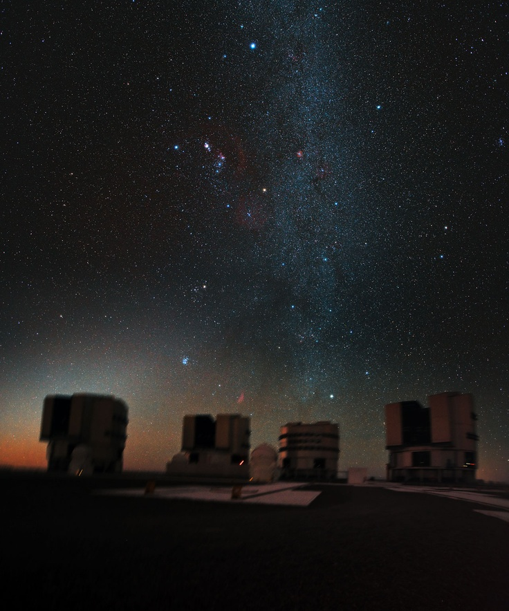 The great hunter Orion hangs above ESO's Very Large Telescope (VLT), in this stunning, previously unseen, image. As the VLT is in the Southern Hemisphere, Orion is seen here head down, as if plunging towards the Chilean Atacama Desert.