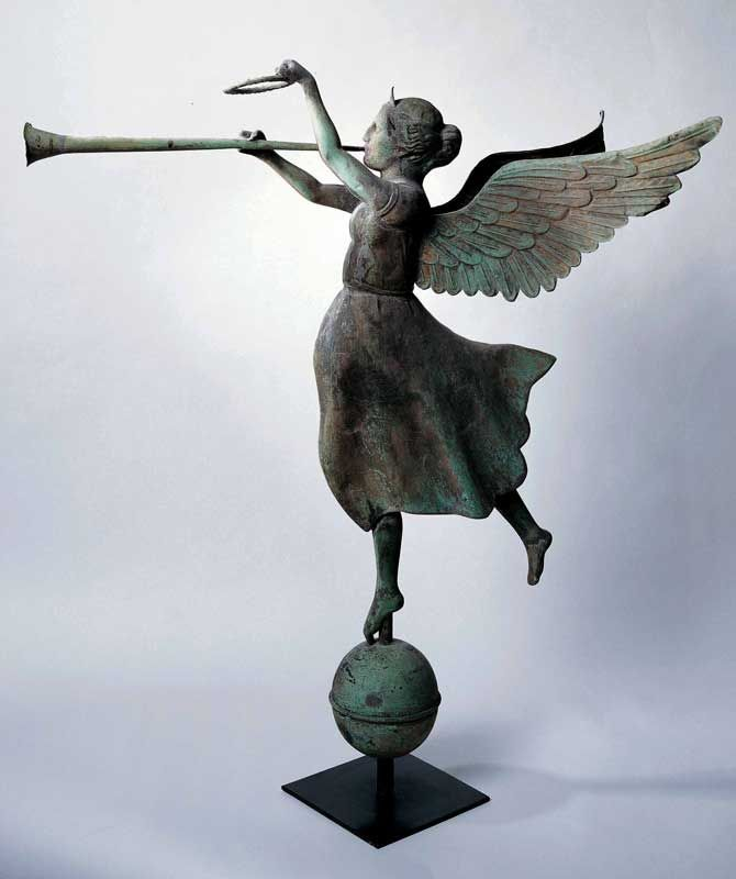 FAME WEATHERVANE / attributed to E.G. Washburne & Company, New York City, c. 1890, copper and zinc with gold leaf, 39 x 35 3/4 x 23 1/2 in., American Folk Art Museum, gift of Ralph Esmerian, 2005.8.62, photo by Gavin Ashworth