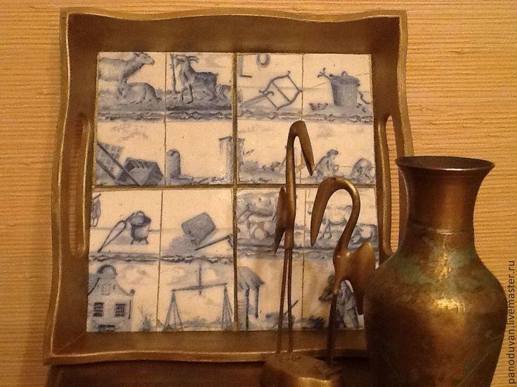 """Купить Поднос"""" Португалия"""" - золотой, интерьер, интерьерное украшение, интерьер кухни, интерьерная картина, поднос"""