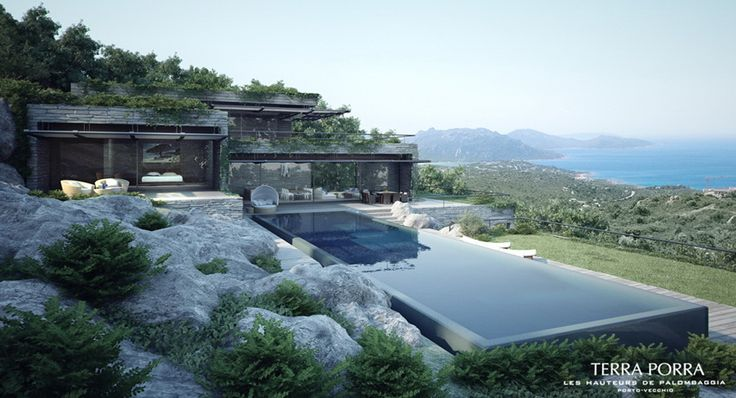 Mountainside villa with pool and green roof in Corsica by Gottesman Szmelcman Architecture
