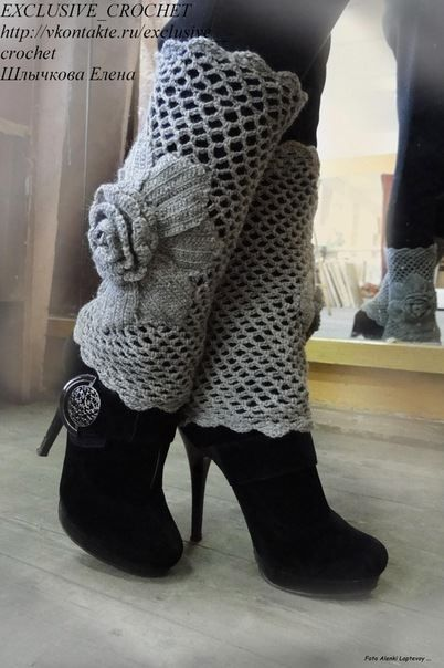 Katia Ribeiro Crochê Moda e Decoração Handmade : Polaina em Crochê com Flor Passo a Passo Elisa Cro...