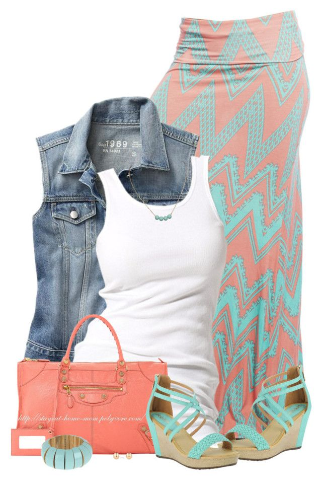 """Chevron Maxi & Denim Vest"" by stay-at-home-mom ❤ liked on Polyvore featuring Wet Seal, Gap, Soaked in Luxury, Balenciaga, Marni and Principles by Ben de Lisi"