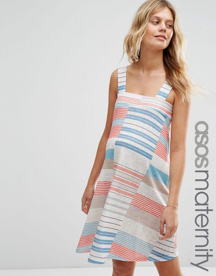 ASOS+Maternity+Mini+Dress+in+Cutabout+Stripe