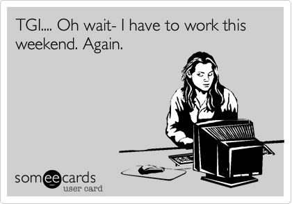 The weekend; defined by the dictionary as a 'rest period' and described by friends and family members with such pleasure… but to you, it's just another day. Here are ten things you'll know if you work a weekend job.