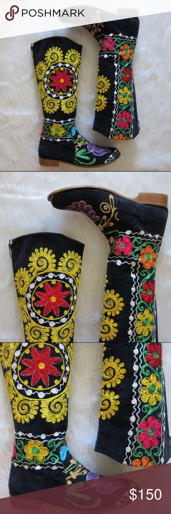 "Vintage Embroidered Penny Lane Velvet 70s Boots Vintage velvet embroidered knee hight boots. 70s Penny Lane style.   Measurements: Size: 38 Boot Height: 15"" Heel Height: 1"" Calf Opening: 6"" Outer Sole Length: 10.5"" Ball of Foot Width: 3.5""   Condition: Vintage, gently used Vintage Shoes"